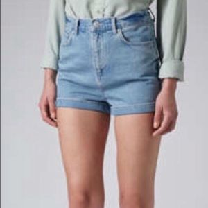 TOPSHOP MOTO High Waist Cuffed Denim Mom Shorts